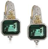 Judith Ripka Sterling Silver Estate Cushion Earrings on Wire with Green Quartz and White Sapphires