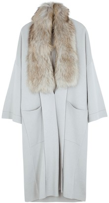 Dom Goor Fur-trimmed Merino Wool-blend Cardigan