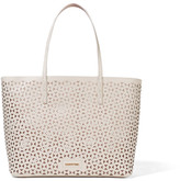 Elizabeth and James Daily Laser-cut Leather Tote - White