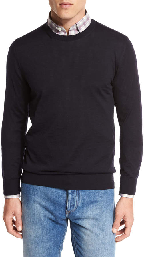 Ermenegildo Zegna High-Performance Merino Wool Crewneck Sweater, Navy