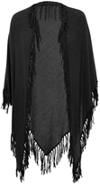 Minnie Rose F41591C16 Boho Cotton Fringe Shawl In Black