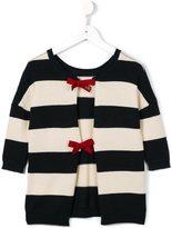 MonnaLisa striped ribbon fastening cardigan - kids - Acrylic/Polyamide/Polyester/Wool - 8 yrs