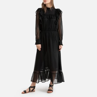 La Redoute Collections Ruffled Maxi Dress in Polka Dot Voile with Long Transparent Sleeves