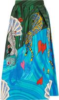 Mary Katrantzou Bowles Printed Cotton-blend Midi Skirt - Blue