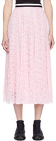 MSGM Pink Pleated Lace Skirt