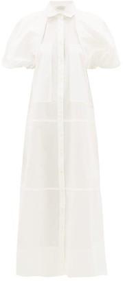 Lee Mathews Elsie Puff-sleeve Cotton Shirt Dress - Womens - White