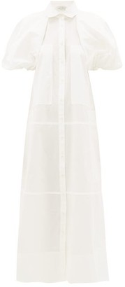 Lee Mathews - Elsie Puff-sleeve Cotton Shirtdress - Womens - White