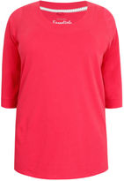 Yours Clothing YoursClothing Plus Size Womens Ladies Top Shirt Raspberry Band Scoop