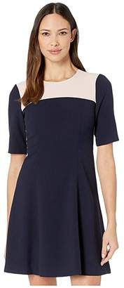 Vince Camuto Kors Crepe Elbow Sleeve Color-Block Fit-and-Flare Dress w/ Topstitch Detail (Navy Multi) Women's Dress