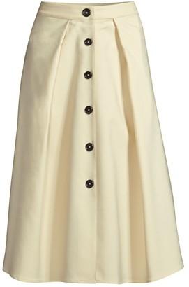 Donna Karan Flare Button Midi Skirt