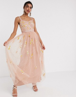 Frock and Frill sequin tulle maxi dress in blush