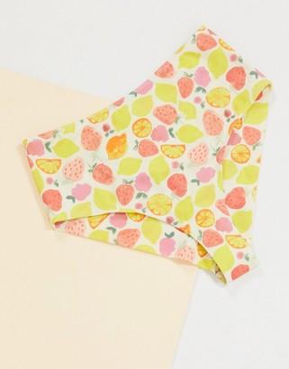 Monki Cecile fruit print cheeky bikini bottoms in mutli