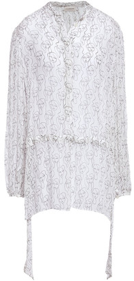 By Malene Birger Gathered Printed Crepon Blouse