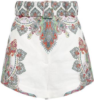 Zimmermann Belted Printed Linen-canvas Shorts