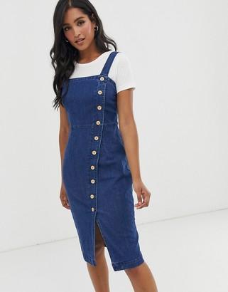 Vero Moda button through denim dress-Blue