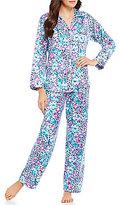 Miss Elaine Brushed Back Satin Animal Printed Pajamas