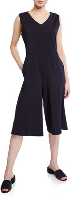 Eileen Fisher Cropped Wide-Leg Cotton Jumpsuit