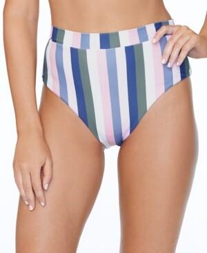 Raisins Juniors' Chasing The Sun Striped High-Waist Tropics Bikini Bottoms Women's Swimsuit