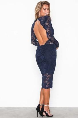 Honor Gold Vanessa Navy Backless Lace Midi Dress