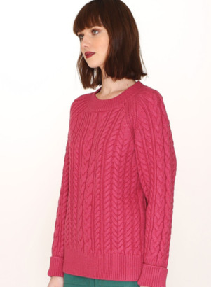PepaLoves Cables Warm Sweater In Pink - M