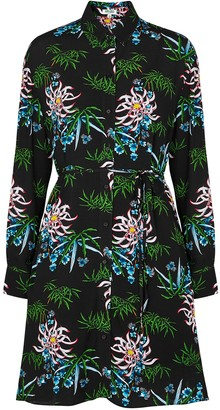 Kenzo Black Floral-print Shirt Dress