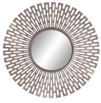 "Patton Wall Decor 27.75""x27.75"" Champagne Round Geometric Sunburst Decorative Wall Mirror Gold"