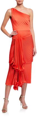 Flor Et. Al Cowper One-Shoulder Pleated Midi Dress