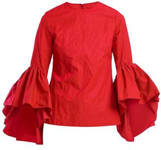 Marques Almeida Marques'almeida - Oyster Bell-sleeve Cotton Top - Womens - Red