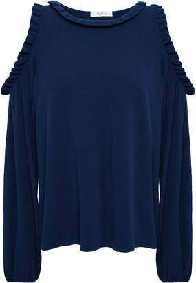 Milly Cold-shoulder Ruffle-trimmed Stretch-knit Top