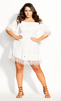 City Chic Crochet Detail Dress - ivory
