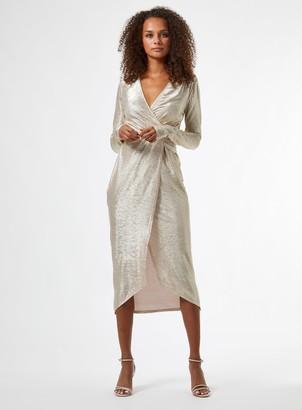Miss Selfridge Beige Metallic Twist Detail Midi Wrap Dress
