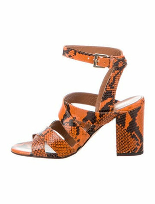 Paris Texas Leather Animal Print Sandals w/ Tags Orange