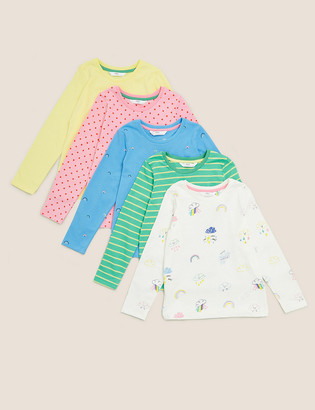 Marks and Spencer 5pk Cotton Multi Print Tops (2-7 Yrs)