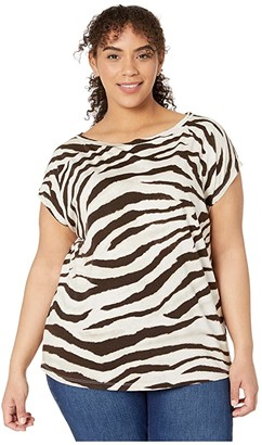 Lauren Ralph Lauren Plus Size Print Dip-Dye Tee (Dark Brown Multi) Women's Clothing