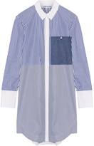 Elizabeth and James Jay Striped Cotton-poplin Mini Shirt Dress - Blue
