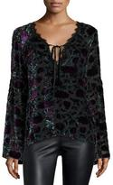 Nanette Lepore Long-Sleeve Floral Velour Blouse, Eggplant/Multicolor