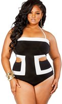 Maxwell Women's Fashion Contrast White Detail Cutout Plus Size Swimsuit Swimwear (, Black White)