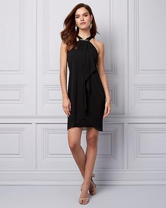 Le Château Chiffon & Knit Halter Cocktail Dress