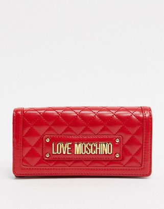 Love Moschino quilted purse with chain strap in red