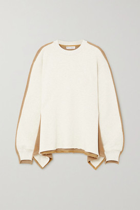 J.W.Anderson Draped Paneled Cotton-terry And Jersey Sweatshirt - Beige