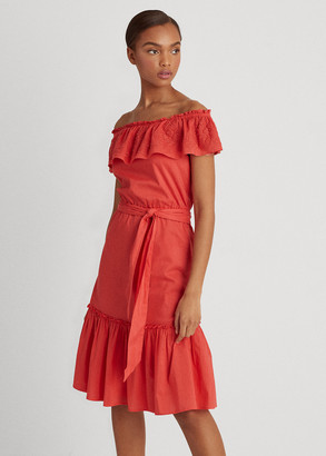 Ralph Lauren Cotton Off-the-Shoulder Dress