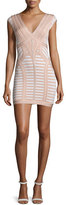 Herve Leger Cap-Sleeve V-Neck Bandage Dress, Alabaster Combo