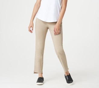Martha Stewart Regular Stretch Twill Pull-On Ankle Pants with Step Hem