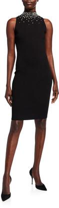 Milly Gem Embellished Mock Neck Tank Dress