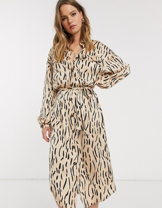 ASOS DESIGN satin midi shirt dress in animal print