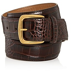 Bryant Park Men's Croc Embossed Leather Belt