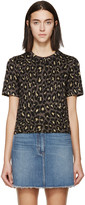 Marc by Marc Jacobs Gold & Brown Knit Leopard T-Shirt