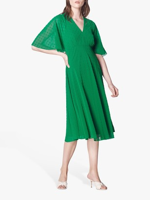 LK Bennett Claud Spot Pattern Tea Dress, Fern Green