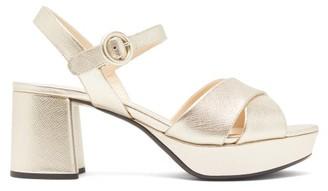 Prada Metallic Saffiano-leather Platform Sandals - Gold