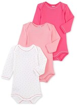 Petit Bateau Set of 3 baby girls long-sleeved bodysuits